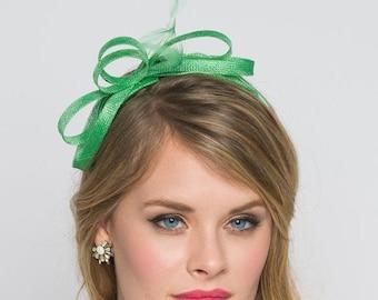 Red Rose Flower Olive Green Velvet Fascinator Hat Hair Clip Vintage Races 2631