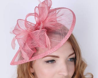 """Pink Fascinator - """"Penny"""" Mesh Hat Fascinator with Mesh Ribbons and Feathers"""