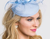 "Light Blue Fascinator - ""Juliet"" Light Blue Round Felt Sinamay Hat w/ Feathers and Satin Ribbons"
