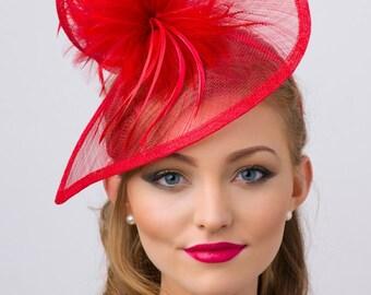Red Twist Mesh Fascinator -