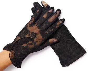 Lacey Black Floral Overlay Lace Gloves