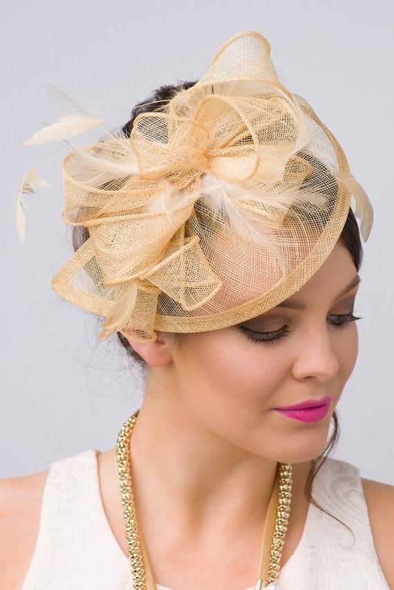 Champagne Gold Fascinator Penny Mesh Hat  a3801f29e2b
