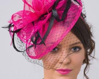 "Fuchsia Fascinator - ""Noor"" Fuchsia & Black Fascinator Hat Headband w/Ribbon waves a black birdcage veil"