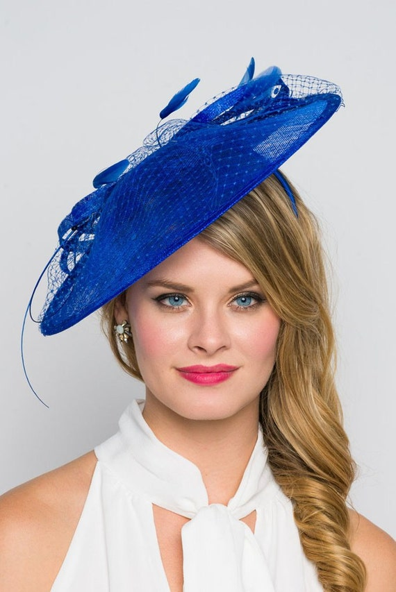 Royal Blue Fascinator Hat Wendy Wide Slightly  4e305276e9b