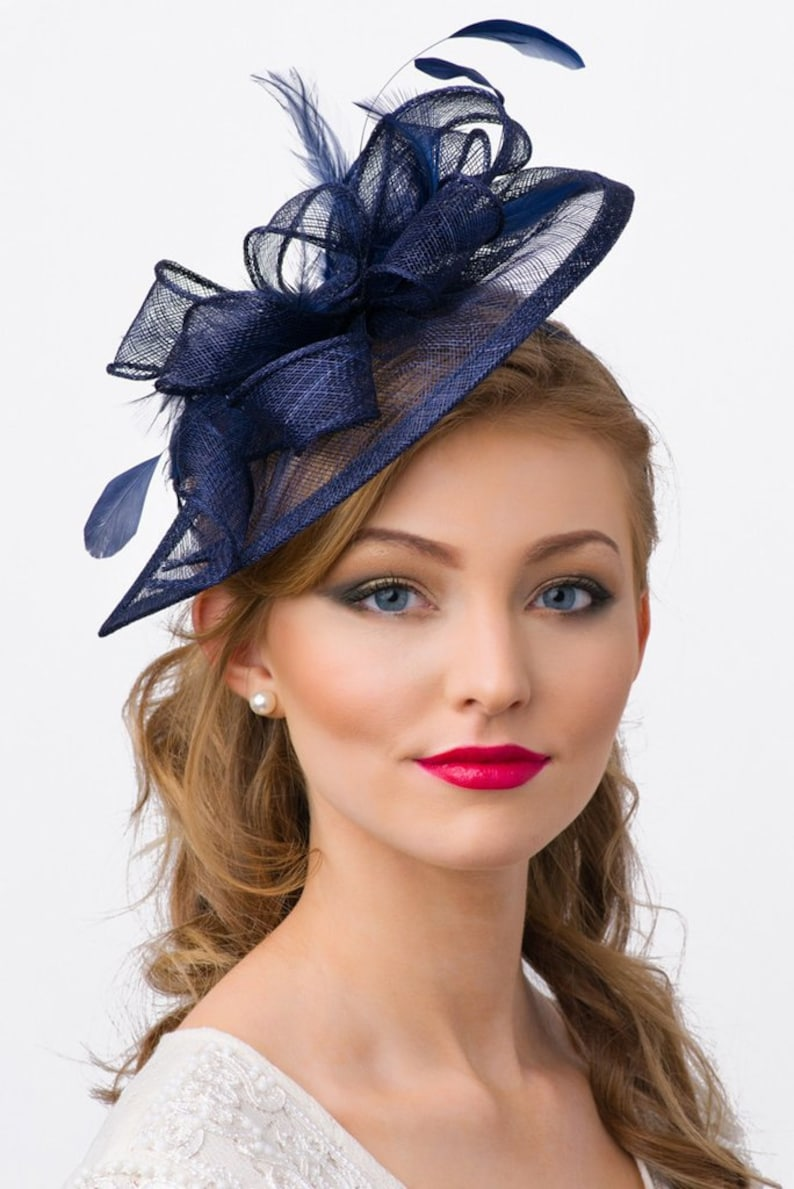 Navy Blue Fascinator Penny Mesh Hat Fascinator  7071424ba07