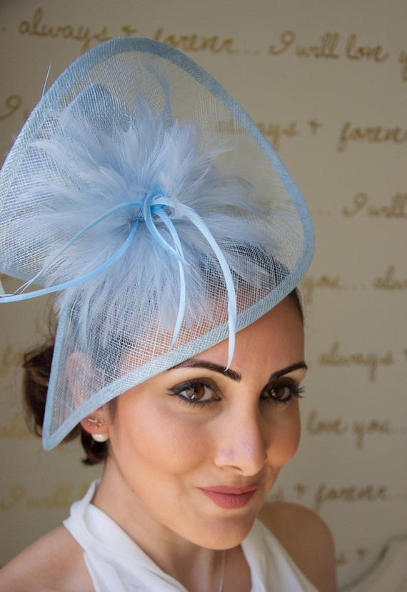 Light Blue Fascinator Victoria Twist Mesh  f91fa9fc0f6