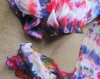 "Hot Magenta Blue ""South Sea Fleurs"" Caribbean Collection Silks for Weddings & Summer Evenings - Chiffon sheer"