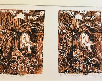 Original Art, Lino Print Pigs on Allotment, Orange brown and Black