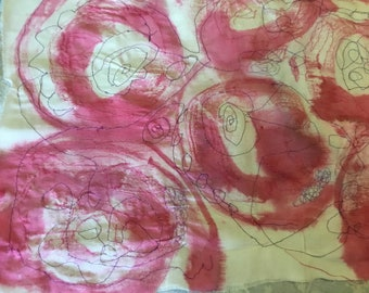 Pink Spiral Textile Art Embroidery, on cotton base