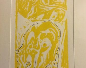 Original ART Lino Print, Buttercup the Cow Grazing