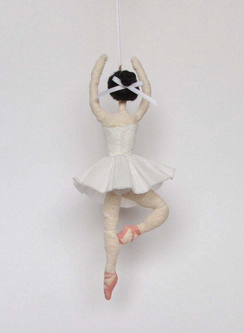 Custom Spun Cotton Snowflake Ballerina Christmas Ornament White Tutu Made to Order