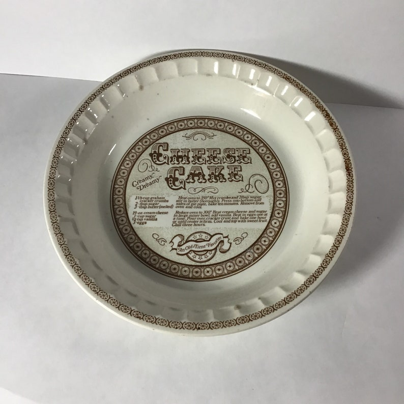 Royal China Jeanette Cheese Cake Recipe Pie Plate Made in USA