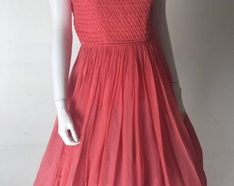 0ce31f426ea 1950s Coral Pink Sheer Chiffon Dress