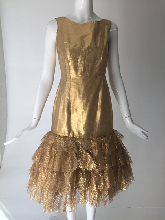 Bombshell Cocktail 1950s Gold Dress