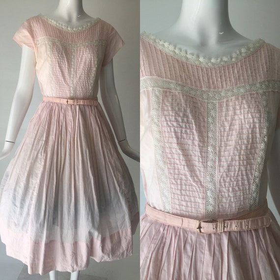 1950s Pink and White Summer Cotton Dress