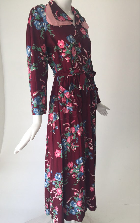 1940s Gabardine Floral House Dress Robe - image 4