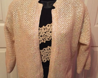 1950s Cream Sequin Sweater