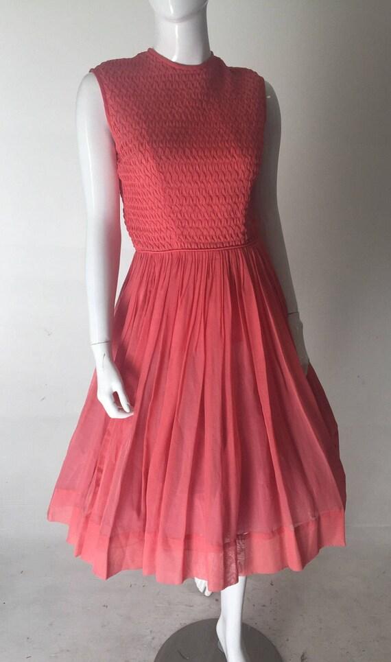 1950s Coral Pink Sheer Chiffon Dress