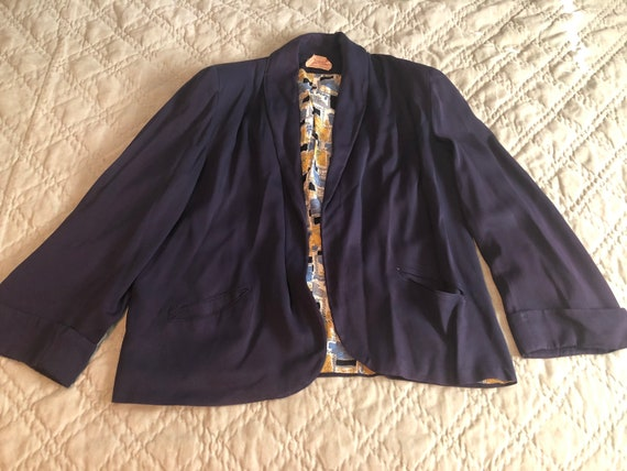 1940s Navy Blue Gabardine Jacket