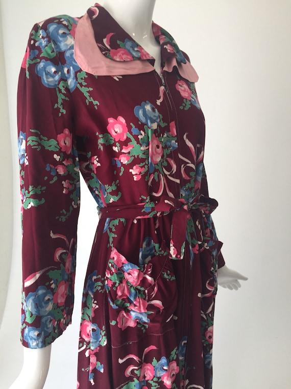1940s Gabardine Floral House Dress Robe - image 2