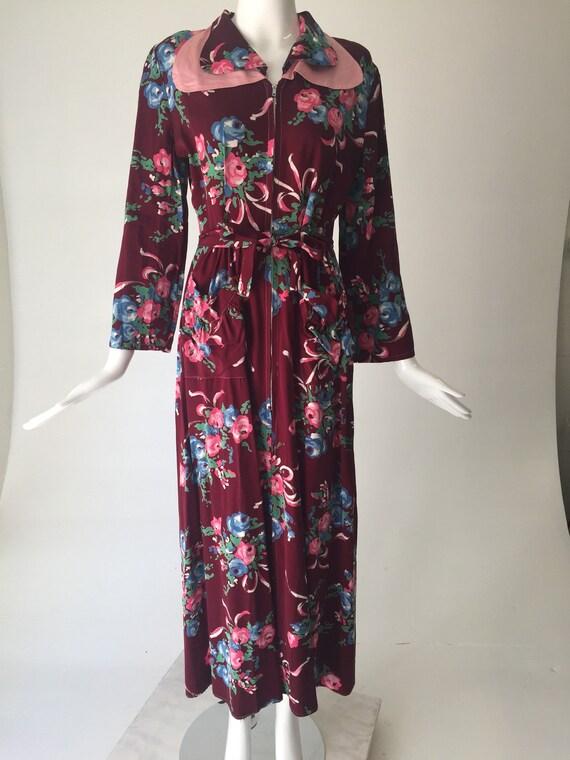 1940s Gabardine Floral House Dress Robe - image 5