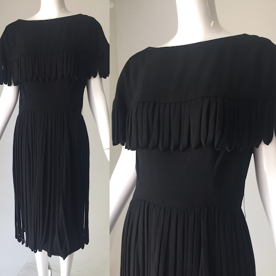 1960s Black Fringe Car Wash Dress