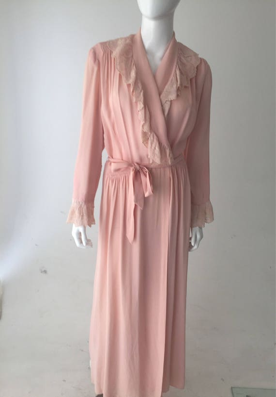 1940s Pink Dressing Gown Robe - image 1