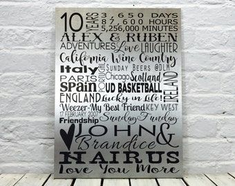 10 year anniversary gifts for men, Tin Anniversary Gift, Anniversary Gift, 10 Year Anniversary Gift for him,  Metal Wall Art, Wood Sign
