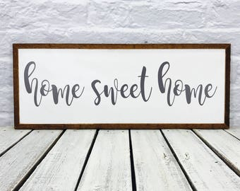 home sweet home, farmhouse decor, farmhouse sign, wood sign, housewarming gift, wooden sign, family name sign, rustic sign, wedding gift