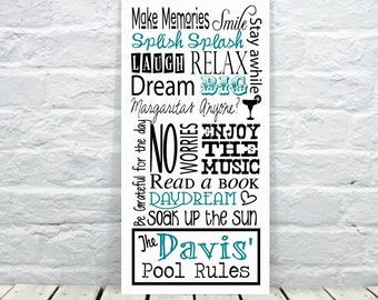 Pool Signs, Pool Rules Sign, Personalized Pool Sign, Swimming Pool Sign,  Pool