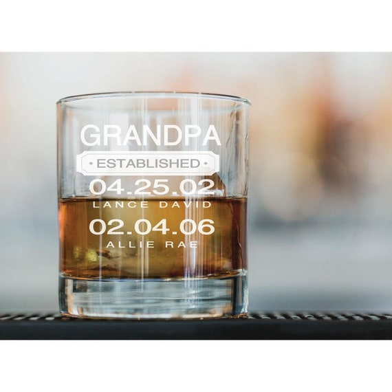 Opa Geburtstagsgeschenk Vatertag Geschenk Großvater Glas Opa Established Whiskey Glass Weihnachtsgeschenk 10oz Glas Mit Kindernamen