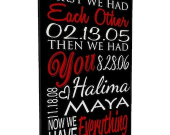 Important Date Sign, Canvas Wall Art, First We Had Each Other, Anniversary Gift, Gift for Mom, Established Sign, Important Dates Gift