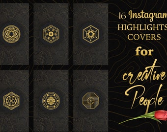 16 Instagram black and gold highlight covers.  Story Covers. Instagram Stories. Black textures. Gold oriental floral and geometric icons.