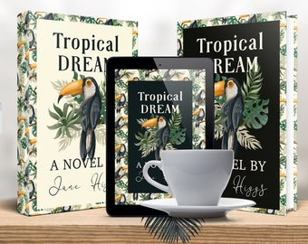 Premade book cover. Hardcover paperback, Amazon Kindle. Light and dark. Tropical patterned design. Fine for adventures, travel, humor genres