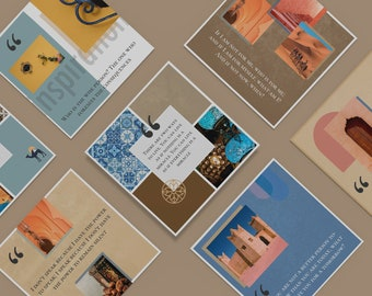 8 Instagram quote templates. Middle Eastern style. Editable in PS or Canva.