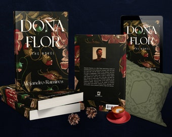 Premade book cover. Dark dramatic style. 3D letters title. Fine for romance, drama, poetry, history novel. Print and e-book. Floral design.