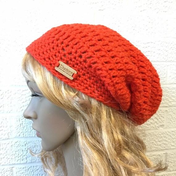 bf6a5b6573e Ready to Ship Crochet Hat Orange Womens Hat Slouchy Beanie