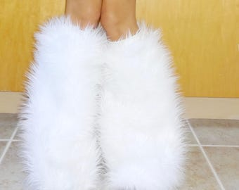 c5a15b2f473 White Faux Fur GoGo Fluffies - Rave Fluffies - Christmas Accessories -  Easter Bunny - Furry Costume Leggings - Luxury Shag Faux Fur