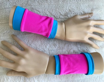 Pink & Turquoise Blue Superhero Wrist Cuffs - Spandex Arm Cuffs - Women Costumes - CLEARANCE