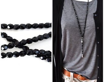 long beaded y-necklace uni deep black handmade high quality 6mm glass beads hippie boho Style with pendants
