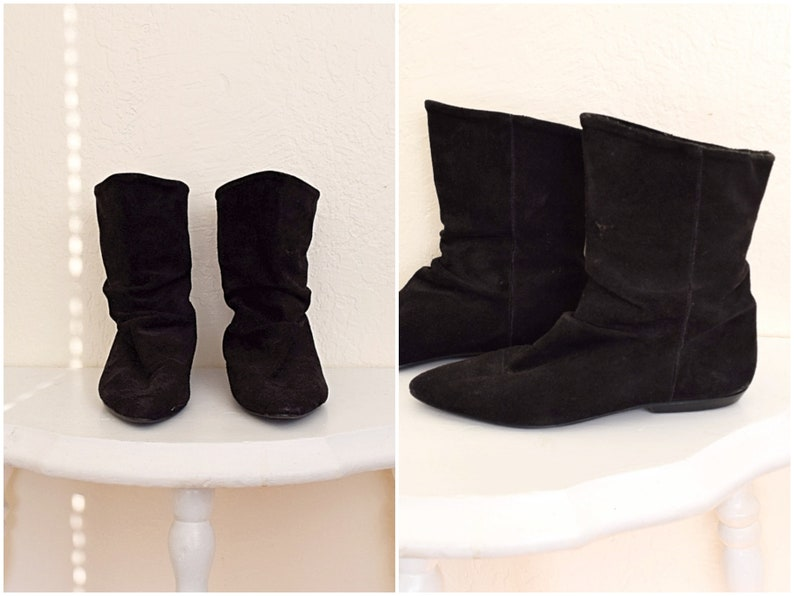 Vintage Black Suede Slouchy Pointed Toe Ankle Boots Size 6