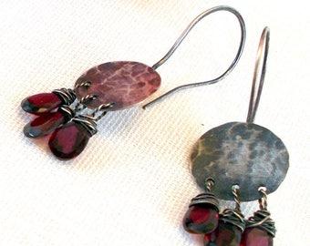 Garnet Briolette Dangle Earrings - Oxidized Sterling Silver Earrings - Rustic Handmade Earrings -  Modern Boho Jewelry - Metalwork Jewelry