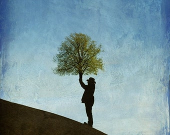 Surreal art print, fantasy photo, dreamscapes, man and tree, abstract photography, The End of The World