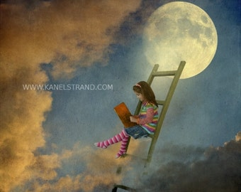 Surreal moon art, fantasy picture, learning to fly, moon picture, digital photo painting, fine art photography, kids room decor
