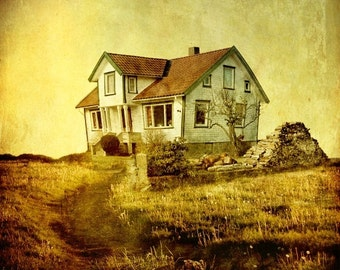 Surreal art, House in dandelion paradise, dreamscape photography, surreal landscape, fantasy art 8x8