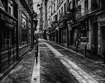 "Photos of Paris - ""Latin Quarter Street""  Paris France Wall Art - Black and White Paris Photography -  Fine Art Print Photography"