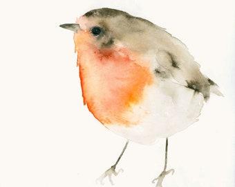 Bird Art Print from Original Watercolor Little Red Robin