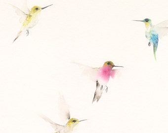 Hummingbirds  Painting Original Watercolor Painting