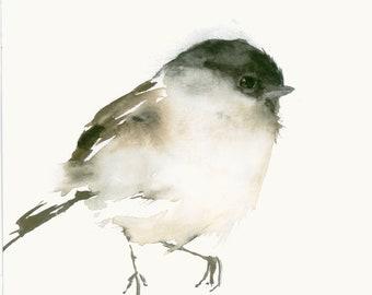 Bird Art Print from Original Watercolor Chicadee