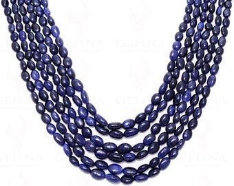 6 Rows Of Blue Sapphire Gemstone Round Faceted Bead Necklace NP1149